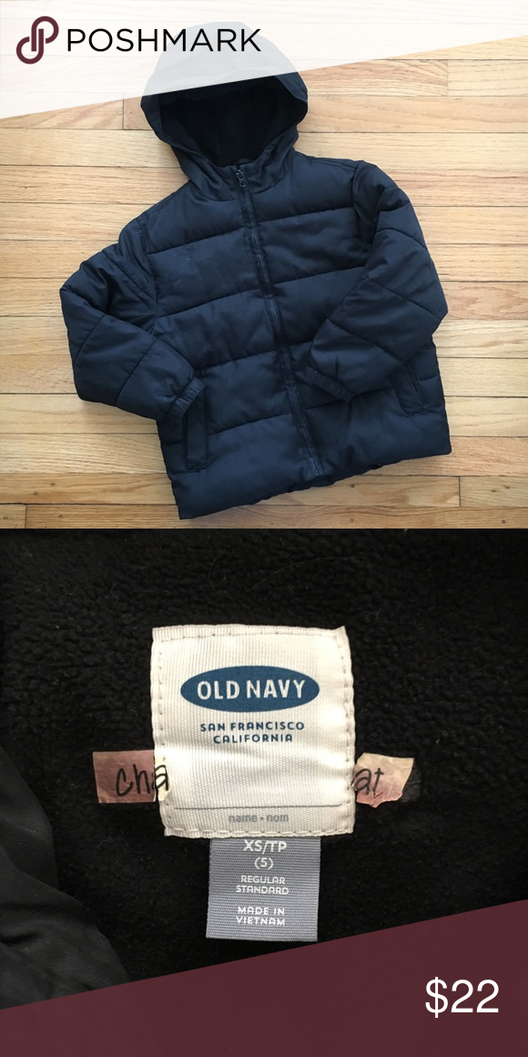 7206e2ad9 Old Navy size 5 hooded black puffer coat Old Navy size 5 hooded ...