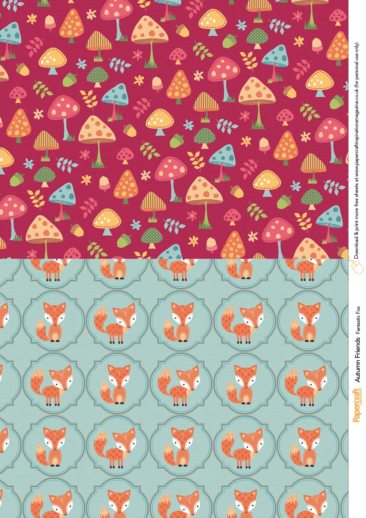 get funky with these cute fox characters and mushroom papers
