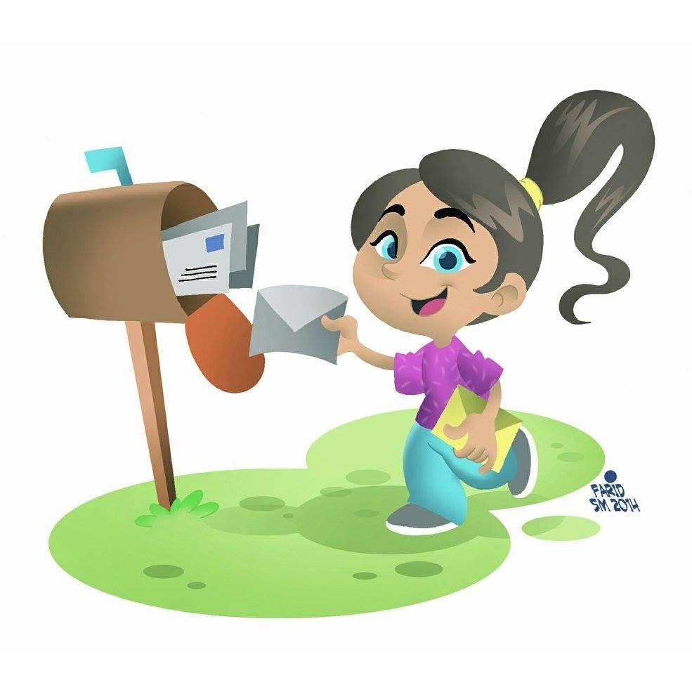 Ilustasi Seorang Anak Mengirim Surat Melalui Kotak Pos Sketsa Anak Kotak