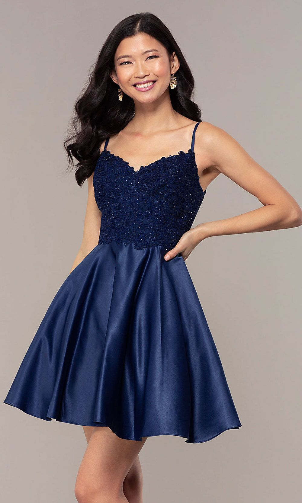 Short Lace-Applique-Bodice A-Line Homecoming Dress  Formal