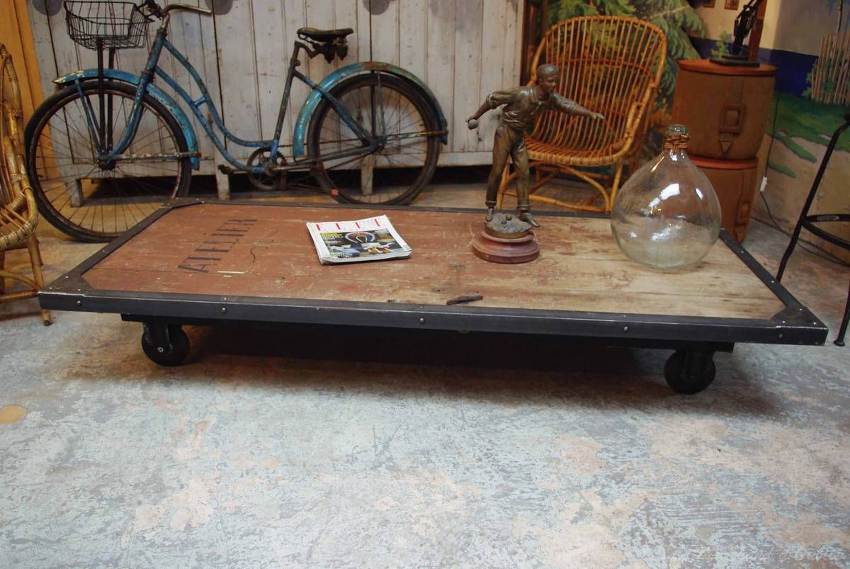 Industrial Coffee Table Probably Made With An Old Factory Door