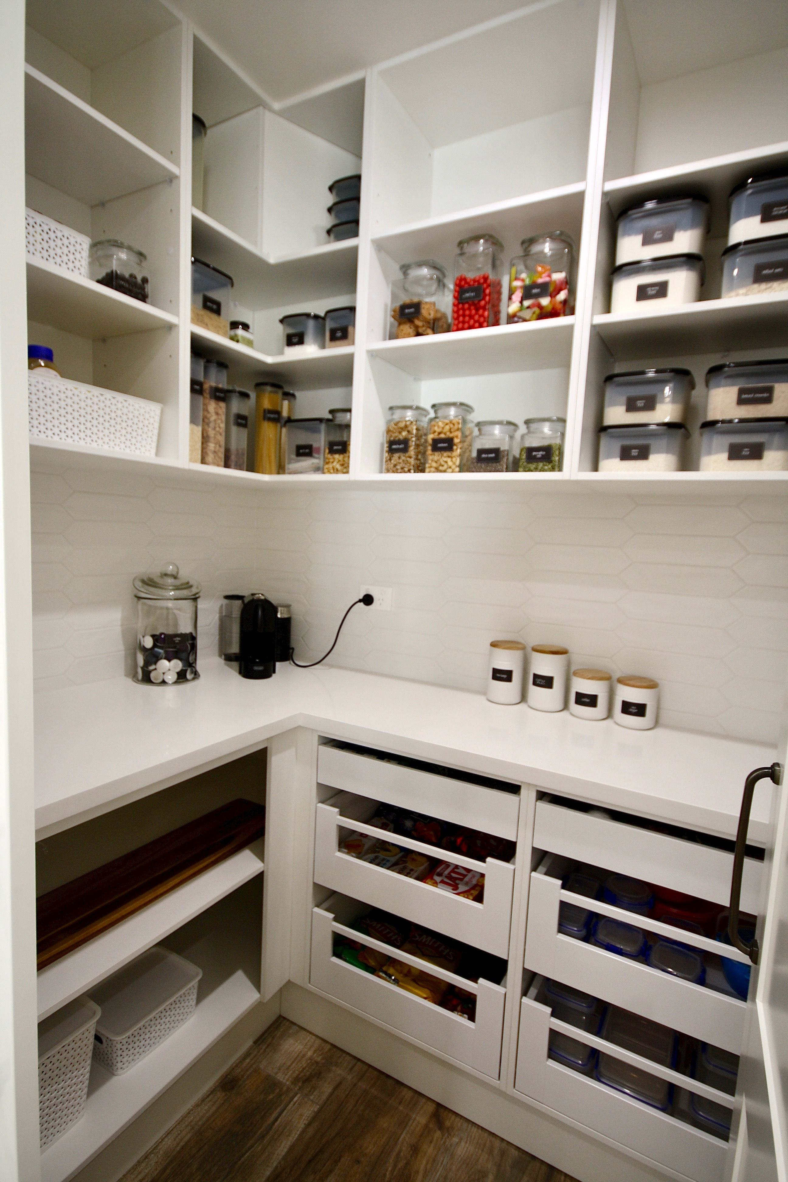 Walk In Pantry Custom Built Walk In Pantry With A Stone Bench Top And Tiled Splash Back With Blum Kitchen Pantry Design Pantry Design Modern Kitchen Design