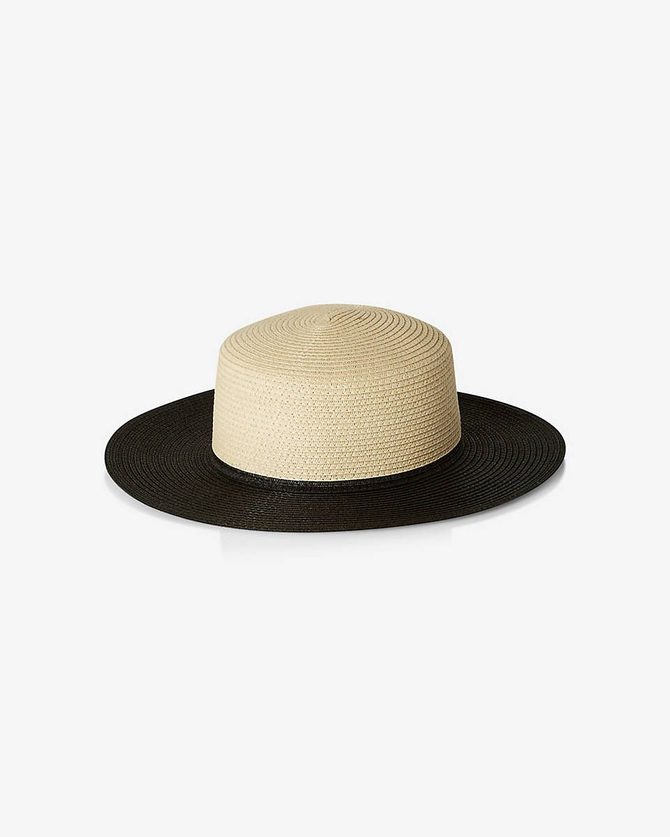 c208207f506ad color blocked straw boater hat