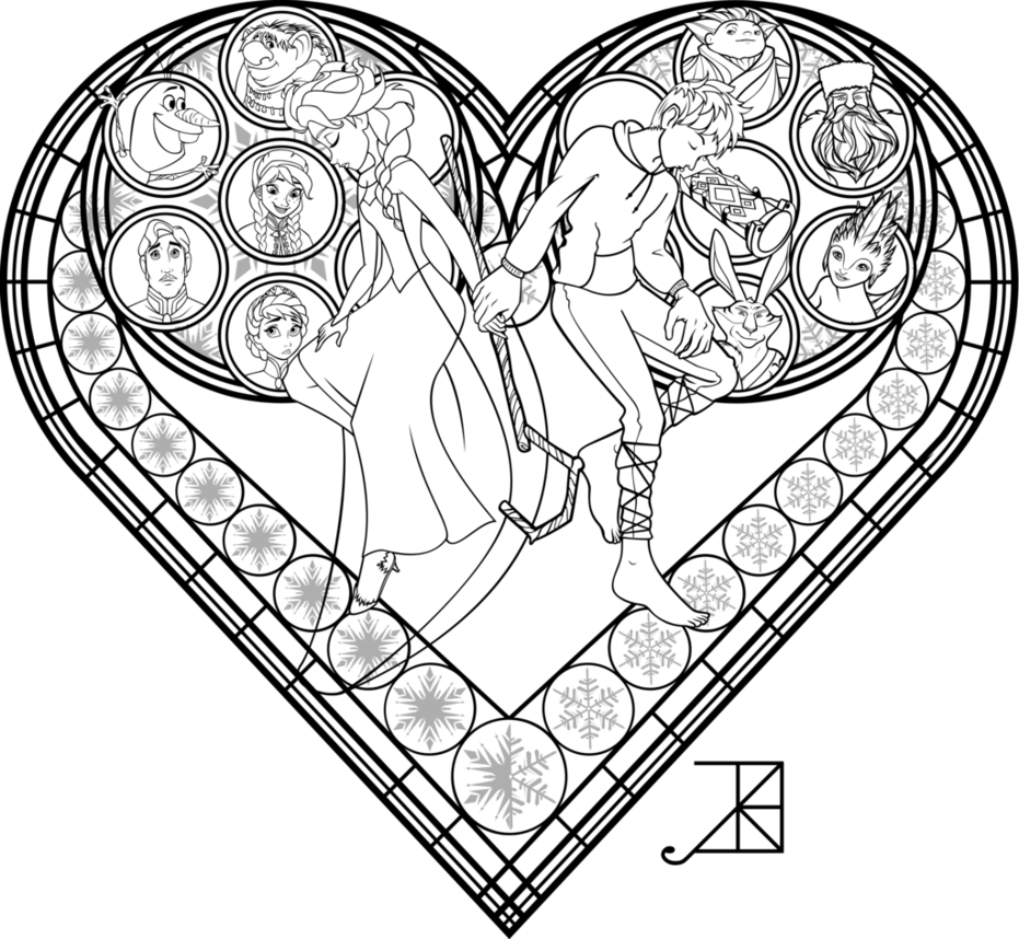 Stained glass coloring page frosted love by akiliamethyst on