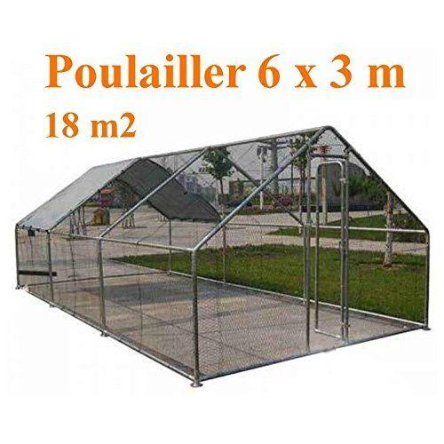 Poulailler enclos voli re chenil 18m2 acier galvanis - Filet pour poulailler ...