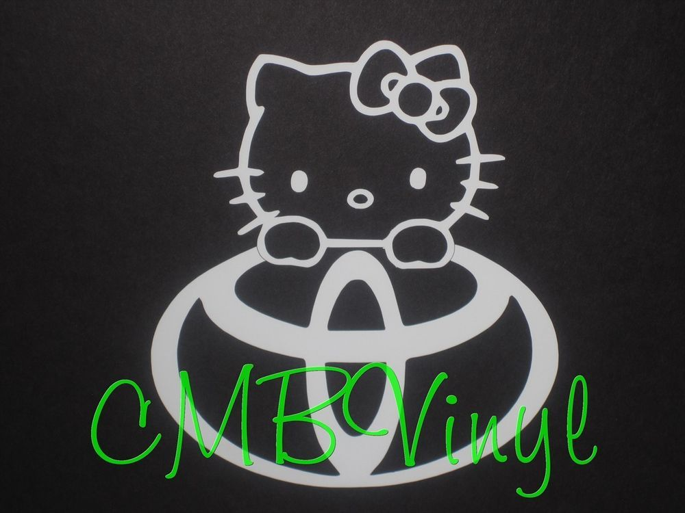 FREE BONUS Hello Kitty Toyota Peeking IPad Decal Sticker Car Truck - Hello kitty custom vinyl decals for car