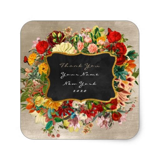 Thank You Gift Baroque Velvet Ivory Pearl Floral Square Sticker