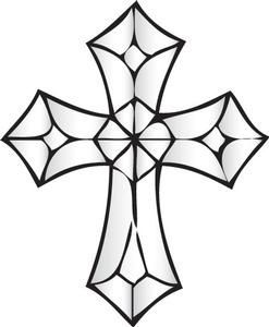 Ornate Cross Bevel Cluster Cross Drawing Cross Coloring Page