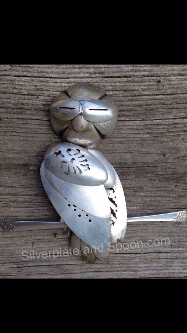 Hoo Hoo is that? A new friend from Silverplate & Spoon that's who! This watchful owl is almost 10 inches tall and 11 inches wide. A wise addition to your summer! This is an extremely unique piece and will not be offered in this form again due to the silverware required to build him. silverplateandspoon.com