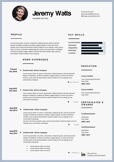 Marsilea Resume layout, Chronological resume, Cover