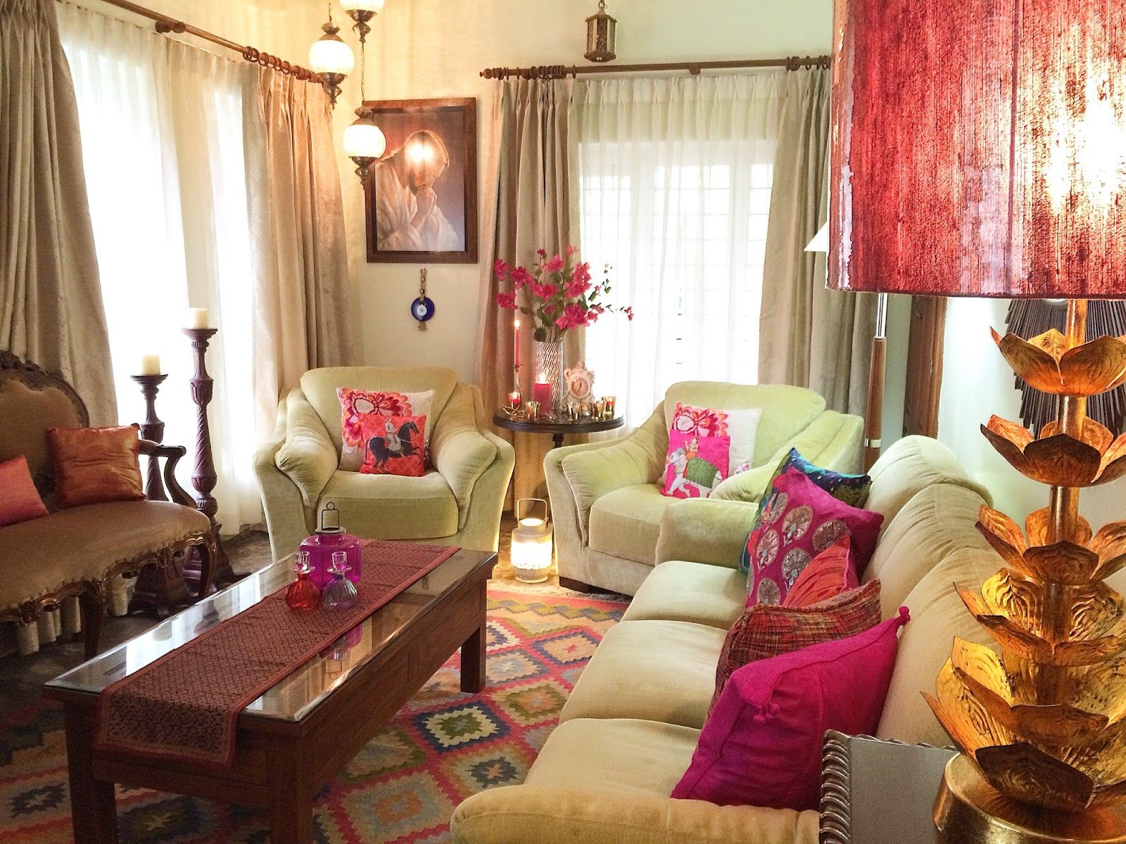 Living room with antique furniture from Kerala India