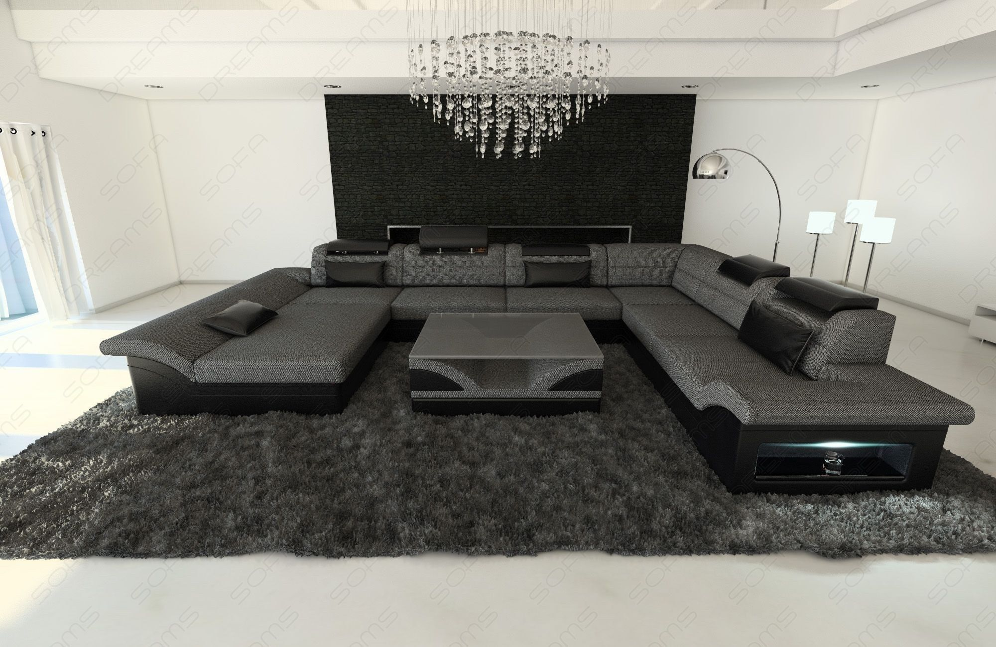 Fabric Design Sofa Atlanta XL with LED  Contemporary living room