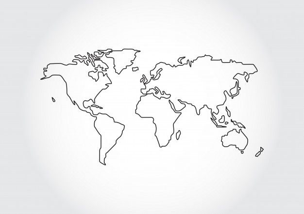 World map outline isolated on white back...   Premium Vector #Freepik #vector #background #pattern #business #abstract