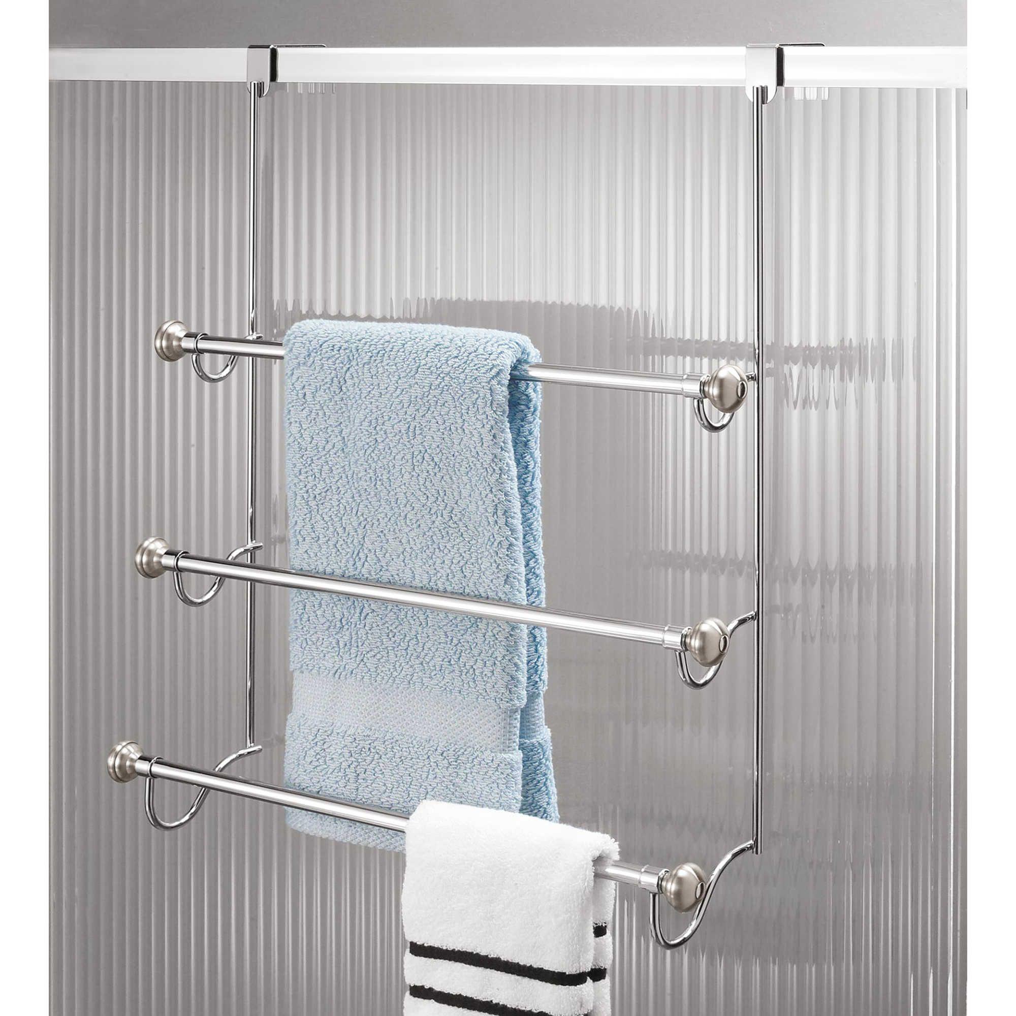 Interdesign York 3 Tier Over The Door Towel Rack In Brushed