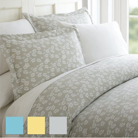 Home Collection Premium Ultra Soft Rose Gray Pattern 3 Piece Duvet Cover Set