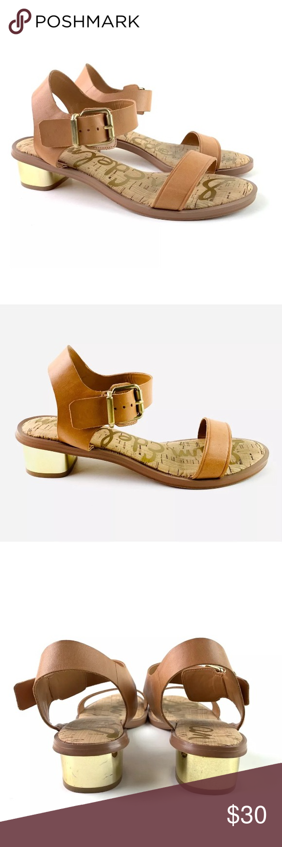 e551a38bde9c Sam Edelman Trixie Open Toe Gold Heel Sandals Low gold heels with ankle  buckle closure Soft cognac brown leather Condition  Pre-owned condition  ...