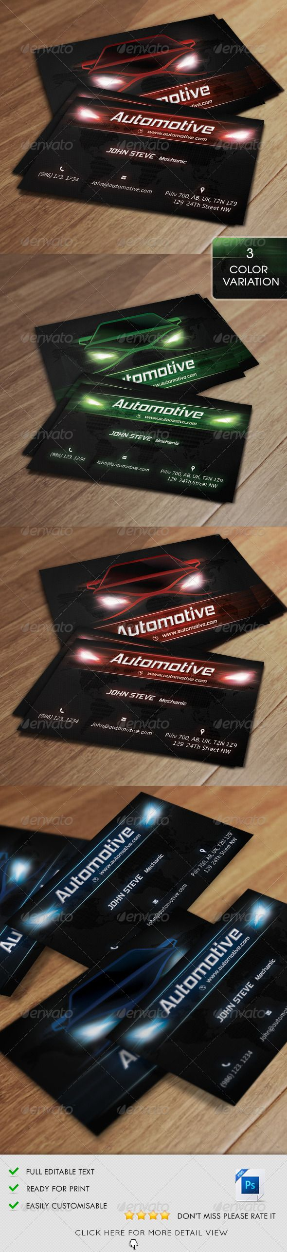 Automotive Business Card v2 | Business cards, Business and Font logo