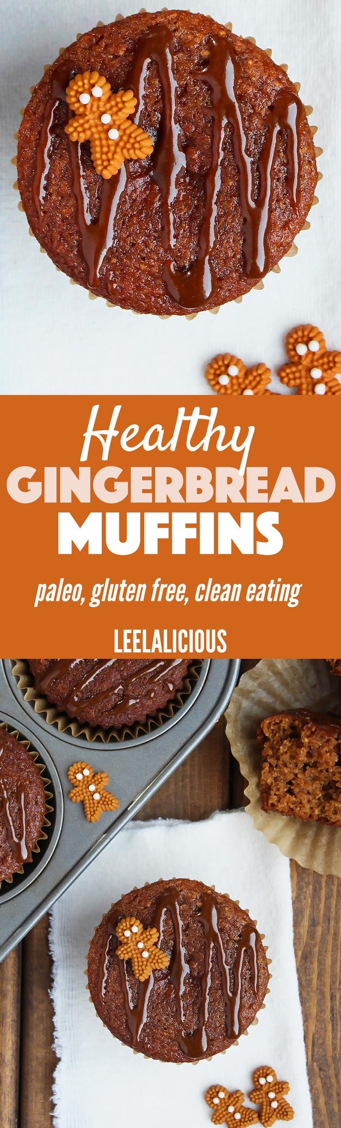 These spiced Paleo Gingerbread Muffins are made from coconut flour. Healthy gingerbread muffins are a delicious gluten free holiday treat.