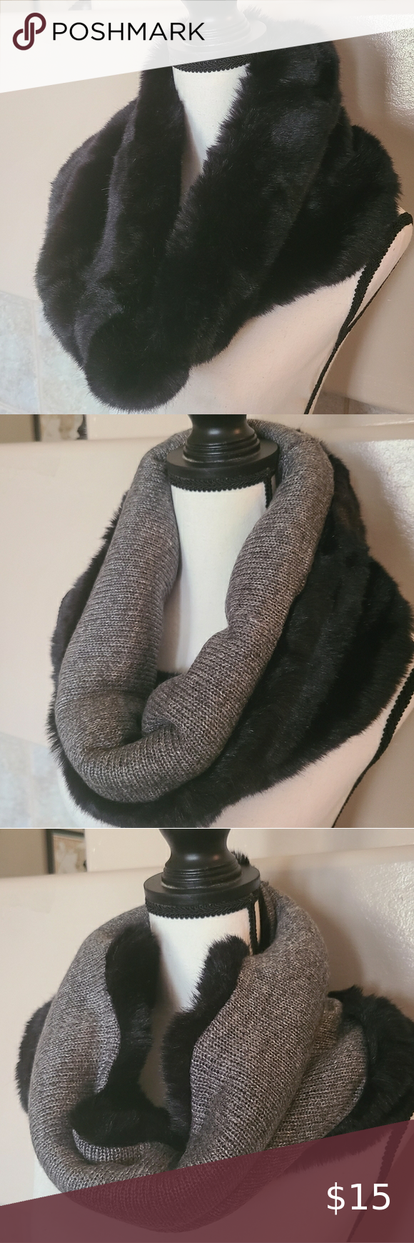 Photo of Faux Fur Reversible Cowl Fun and functional! Gorgeous black shiny soft faux fur …