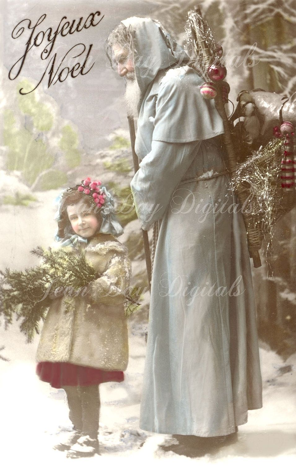 French Santa Joyeux Noel Suzanne And Pere Noel Christmas Instant Download French Postcard 1907 Fc001 French Santa Vintage Christmas Cards French Postcard