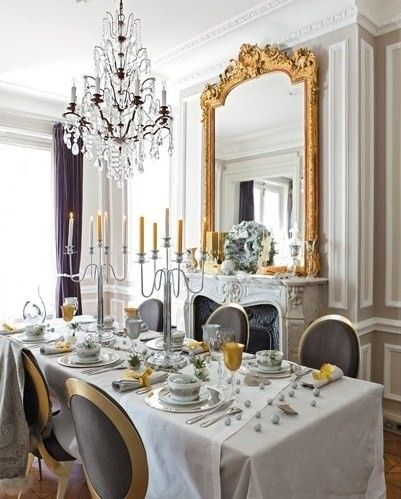 Parisian Living Room Decor | Paris Chic Dining In Black, Gold And White.
