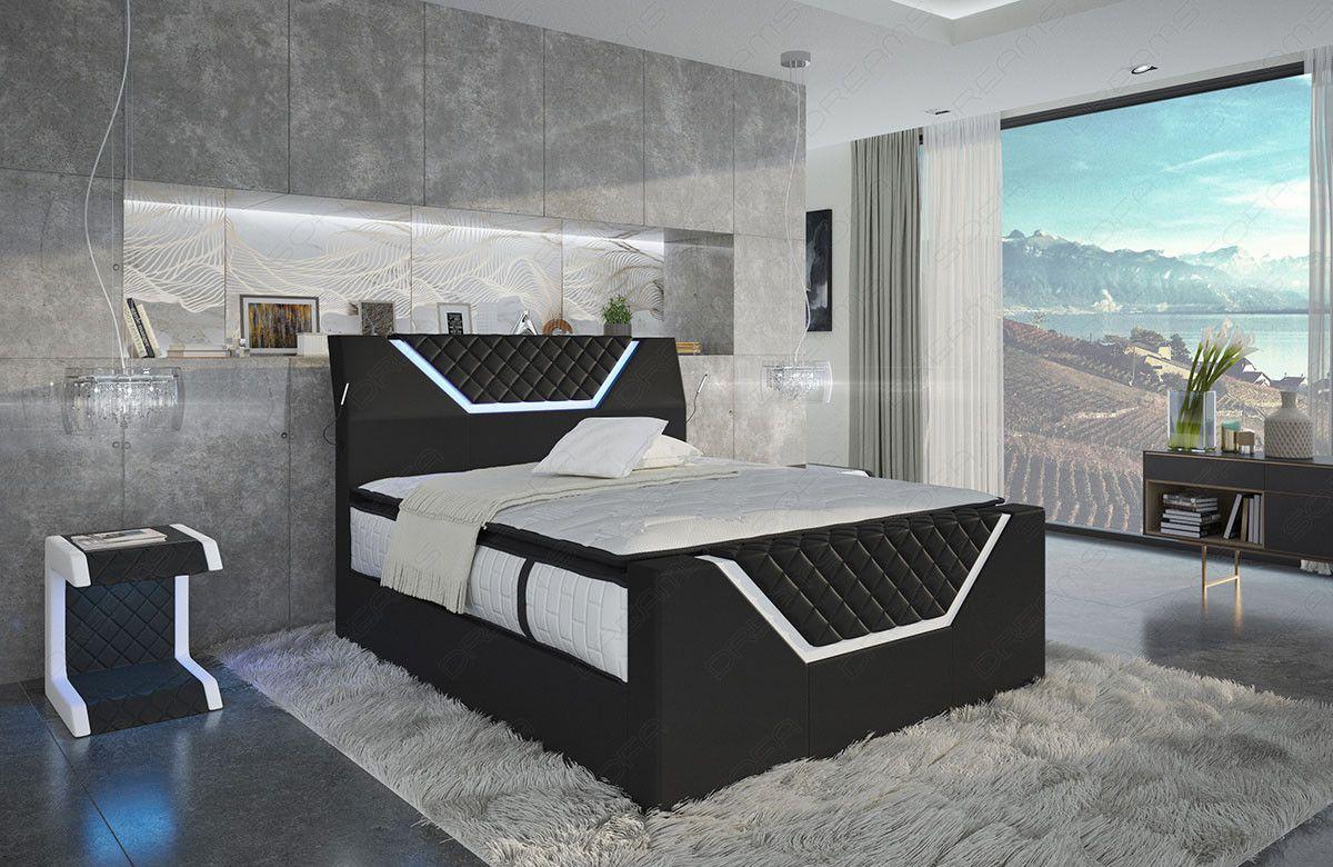 Boxspringbett Nantes Mit Led Beleuchtung In Schwarz Weiss Modernes Schlafzimmer Design Schlafzimmer Design Luxusschlafzimmer