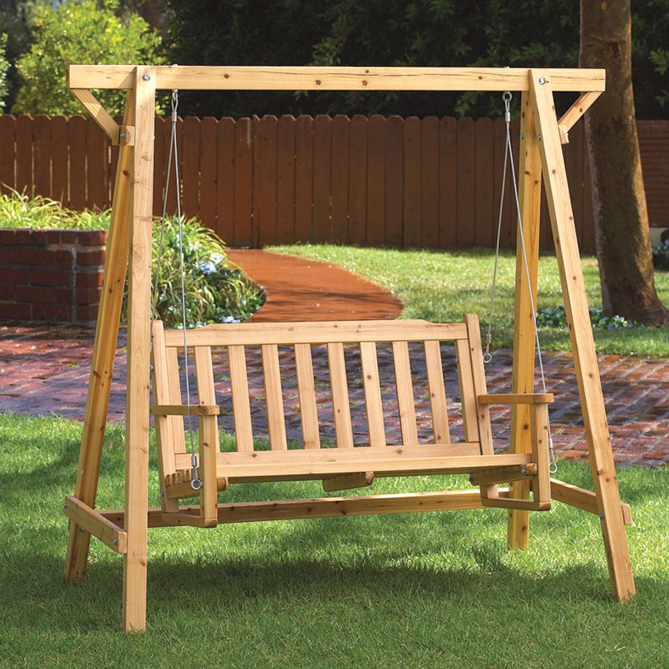 "Malibu Creations 67"" Russian Pine Wood Garden Swing"