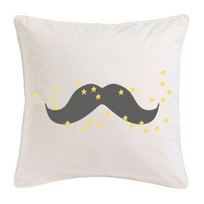 Coussin moustache gris étoiles jaunes
