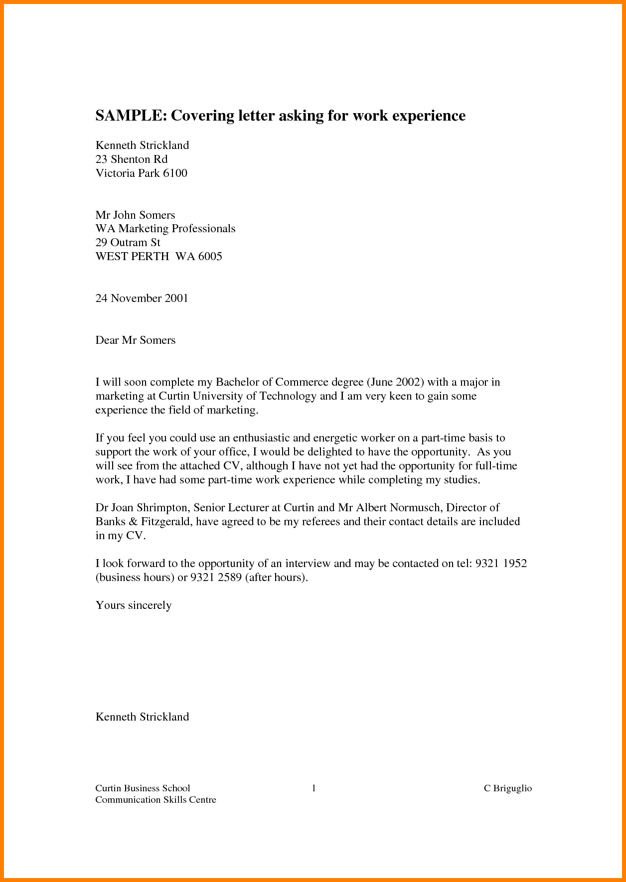 Business Letter Work Experience Sample Covering Asking Request