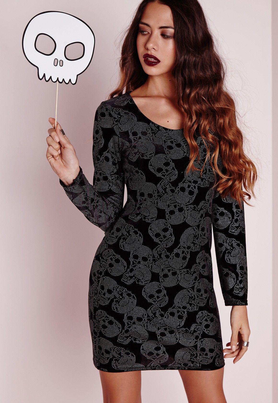 long sleeve velvet bodycon dress black skull | pinterest | black