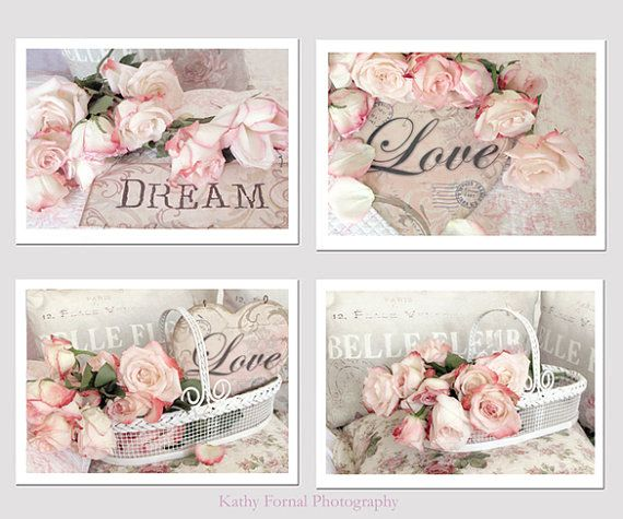 shabby chic pink shabby chic cottage shabby chic decor rose prints ...