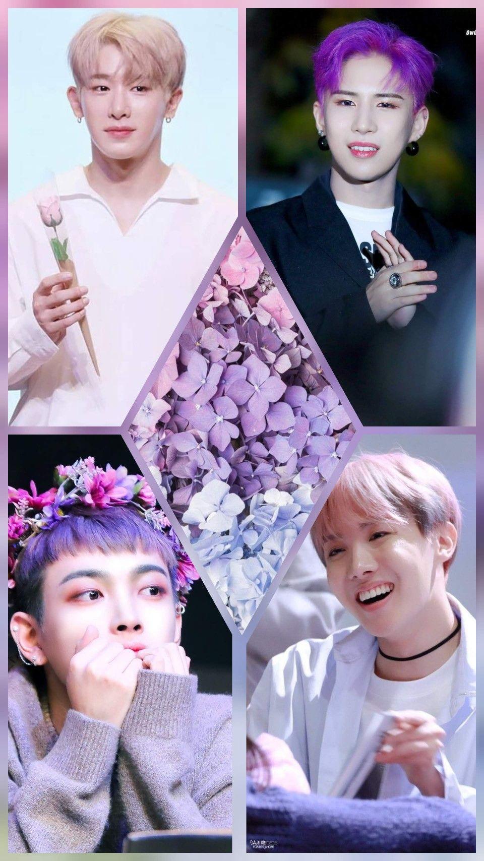Purple Kpop Idol Collage Collage Purple Kpop Idol