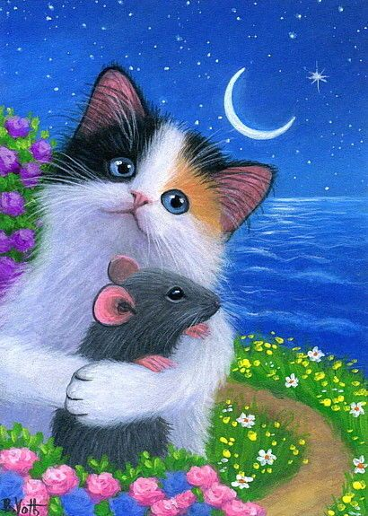 Kitten cat mouse spring stars moon night ocean original aceo painting art #Realism