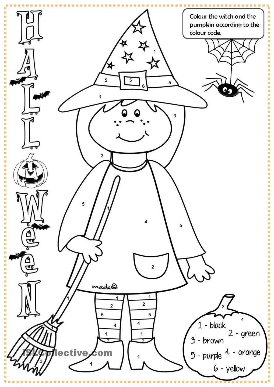 Halloween witch colouring Actividades de halloween