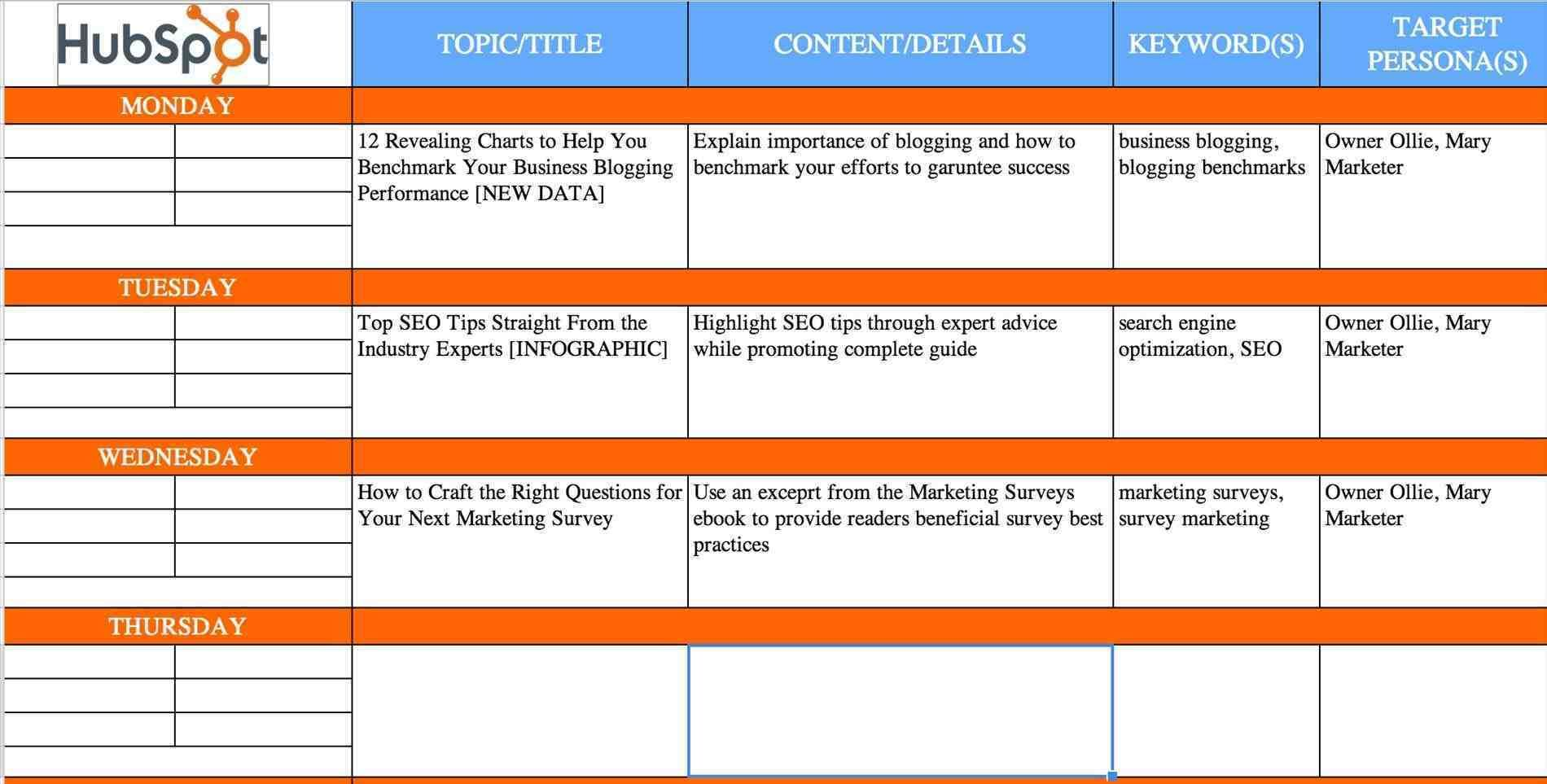 Content Calendar Template Excel