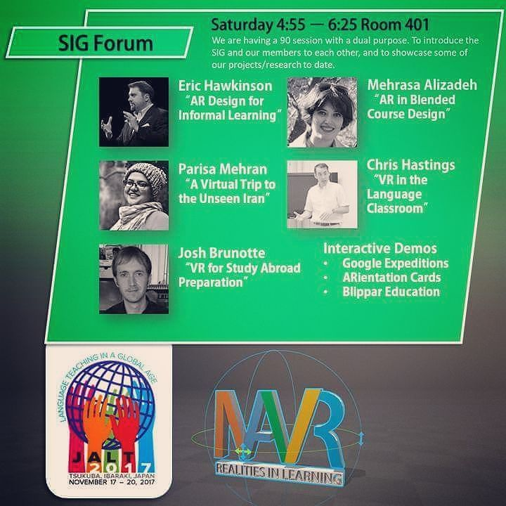 We got a ton of content lined-up for our MAVR SIG Forum this Saturday from 4:55 in Room 401 at #JALT2017.  Get some hands on time with some #AR / #VR learning content too! #MAVR #JALTMAVR #ARientation @jalt2017 @veativelabs @cengageasia #linkedin