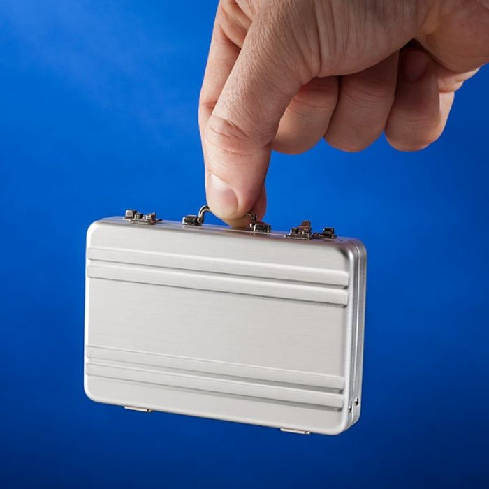 Keep Cards Like a Boss: Mini Briefcase Business Card Case | Geeky ...