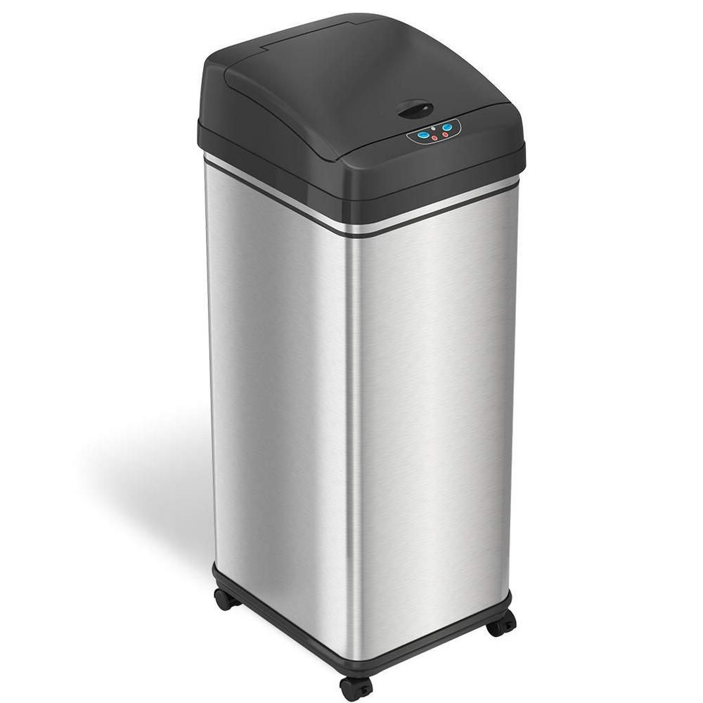 Itouchless Glide 13 Gal Sensor Stainless Steel Trash Can With
