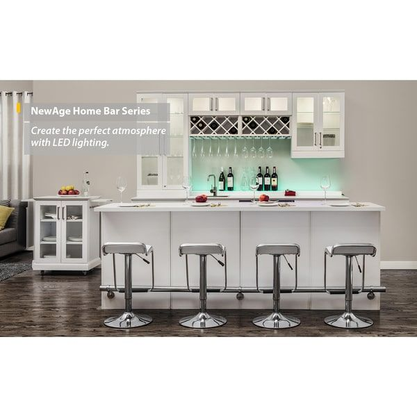 Newage Products White Wood Shaker Style Home Bar White Cabinets