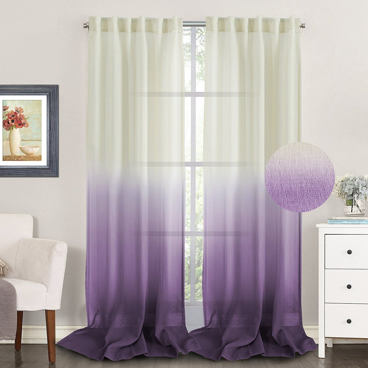 TURQUOIZE Ombre Semi Sheer Curtains Spring Drapes Back Tab Rod Pocket Linen Filmy