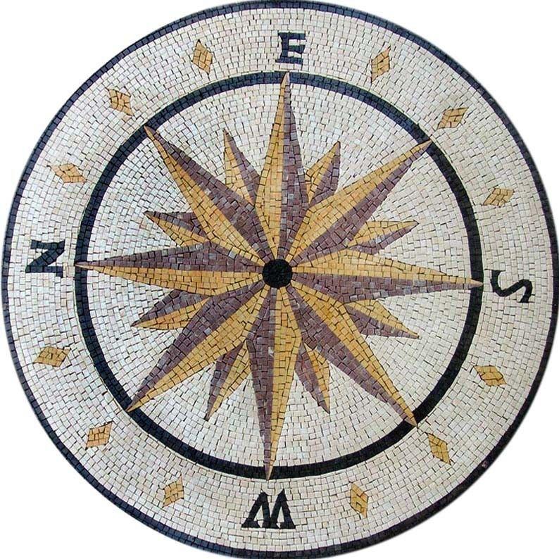 Round Stone Mosaic Compass Design On Sale