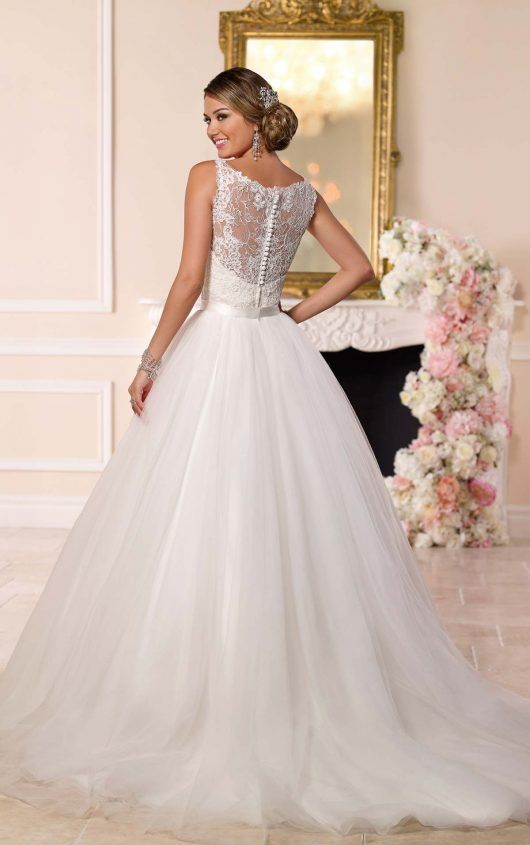 Back View Of 6223 Convertible Wedding Dress By Stella Yorkwith Skirt Attached