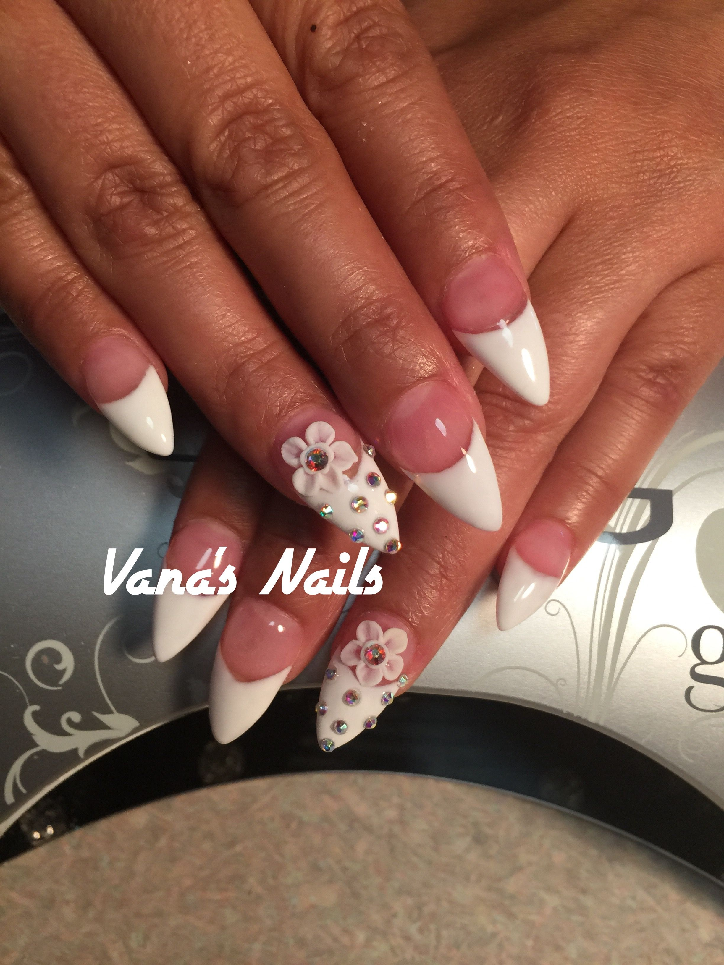 French Stiletto Acrylic Nail Art Design With 3d Flowers