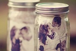 Wedding table decor idea mason jars with couples photo inside wedding table decor idea mason jars with couples photo inside junglespirit Gallery