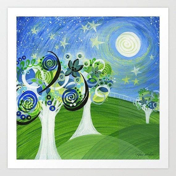 Blue Green Night Sky Starry Night Trees Twinkle by Inspireuart, $15.00
