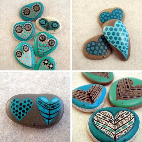 Piedras pintadas coraz n crafts and diy ideas - Piedras de rio pintadas ...