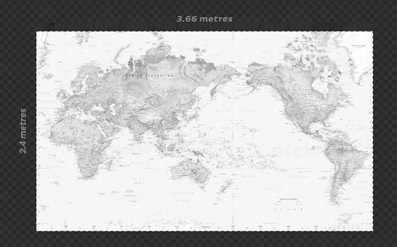Black white fits to your measurements world map wallpaper by black white fits to your measurements world map wallpaper by pickawall on etsy 49900 gumiabroncs Gallery