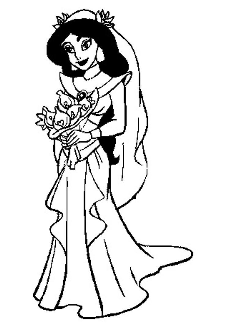 Disney Princess Coloring Pages Jasmine Wedding Dress Disney Princess Colors Wedding Coloring Pages Disney Princess Coloring Pages