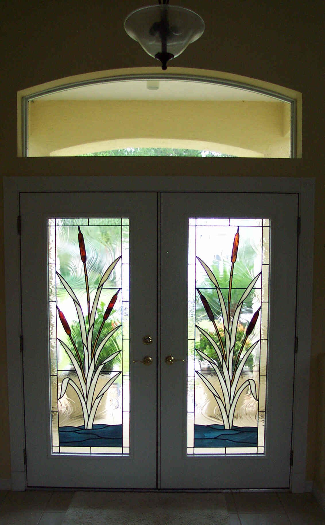 Custom Stained Glass Window For Front Doors Cattail