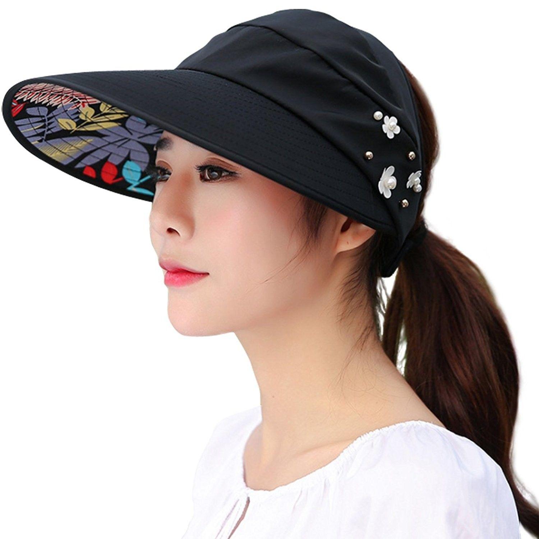Women Wide Brim Uv Protection Summer Sun Hat Beach Visor Cap Upf 50 A Black Cb12mfyj6i7 Summer Sun Hat Summer Hats For Women Hat Beach